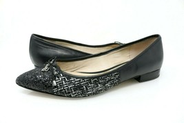Sam Edelman Lilly Women's Size 9M Pointed Toe Flats Glitter Tweed Black Bow - $29.99