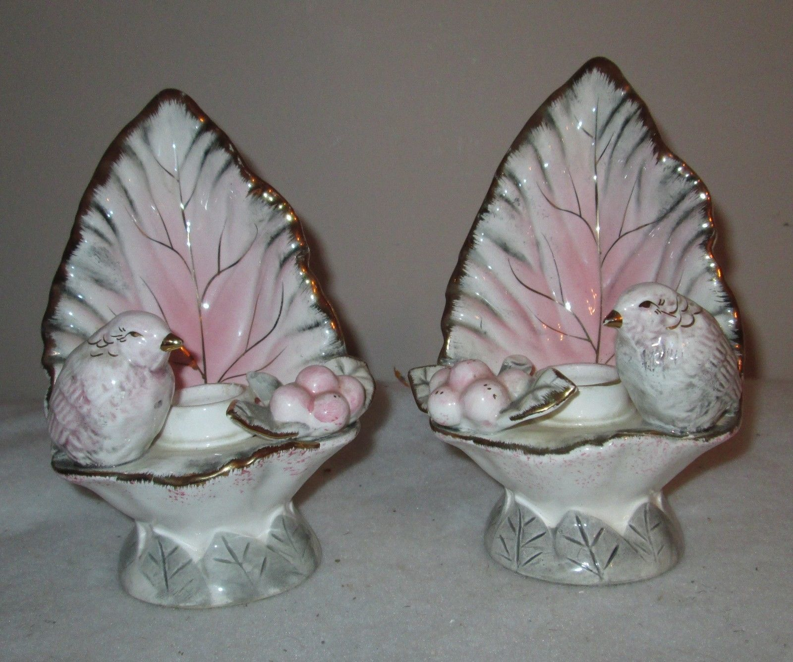 Ucagco Candle sticks & large Dish with Bird Figurine On Leaves and Berries