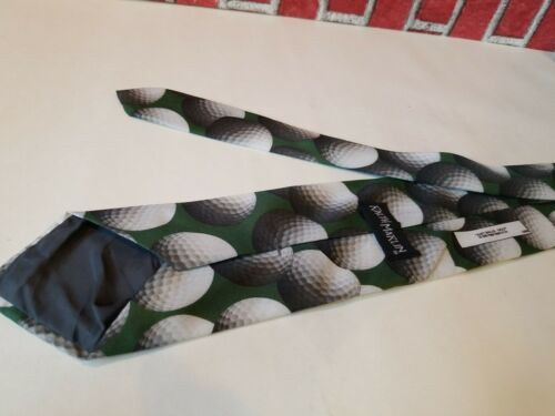 Vintage 1995 Ralph Marlin Neck Tie Green Golf Balls Print Just Balls Used  image 3