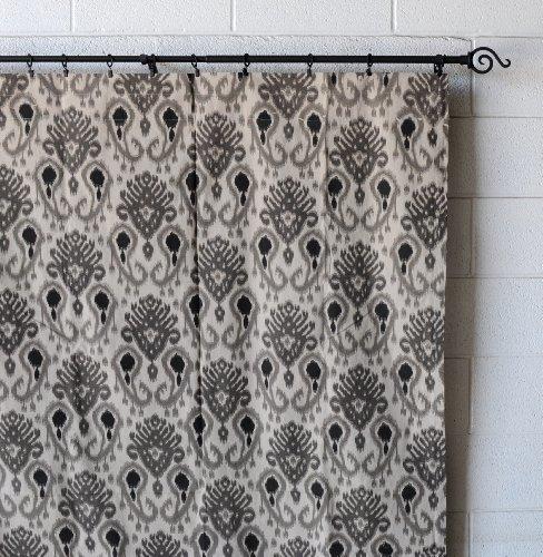 Urbanest Woodblock Linen Designer Drapery Curtain Panels(Two Panels), Gray, Unli
