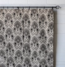 Urbanest Woodblock Linen Designer Drapery Curtain Panels(Two Panels), Gr... - $39.59