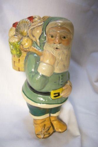 Vaillancourt Folk Art, Nantucket Shell Seeker Santa Signed by Judi Vaillancourt