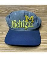 The Game Vintage Michigan Wolverines Hat NCAA Football VTG 90s Snapback Gray - $21.29
