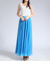 Women Long MAXI Chiffon Skirt AQUA-BLUE Chiffon Maxi Skirt Summer Wedding Skirt image 4