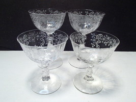 4 Fostoria Meadow Rose ~~ 2 Low Sherbets ~ 2 Hi Sherbets - $19.99