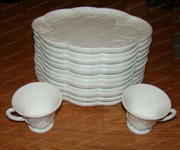 Vintage Milk Glass Snack, Party Trays (Colony Harvest) 10-Plates, 2-Cups - $67.82
