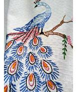 Lovely Vintage Double Peacock Handwork Cotton Dresser Scarf or Table Runner - $20.00