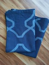 Very Nice Pair Pottery Barn Standard Pillow Shams Blue Trisha Geo Linen ... - $32.62