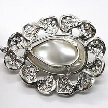 Silver Pendant 925, Pearl Baroque with Frame, Flower, Made in Italy image 4