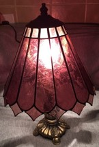 Mission Craftsman Style Metal Table Lamp & Purple Etched Glass Tile Shad... - $39.99