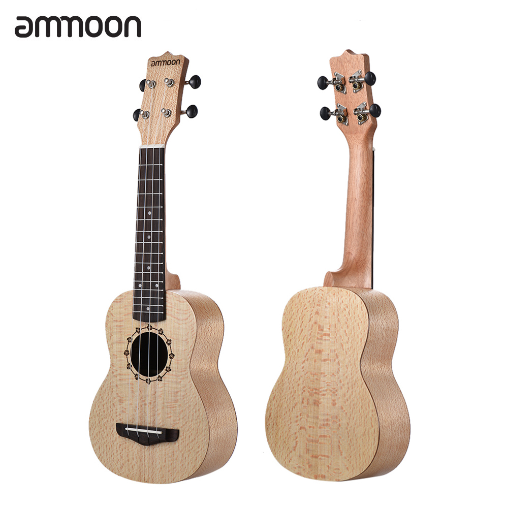 Ammoon Soprano Ukelele 21 Inch Spalted Maple Body Rosewood Fingerboard Hawaiian Guitar Ukulele Set With Bag Strap String Pick Ukulele