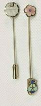 Set of 2 Vintage Goldtone Stickpins Bee Flower and Engraveable Diamond Chip - $10.69