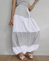 SALE Women Ruffle Long Pants Casual Drop Crotch Bohemian Cotton Blend in... - $49.00