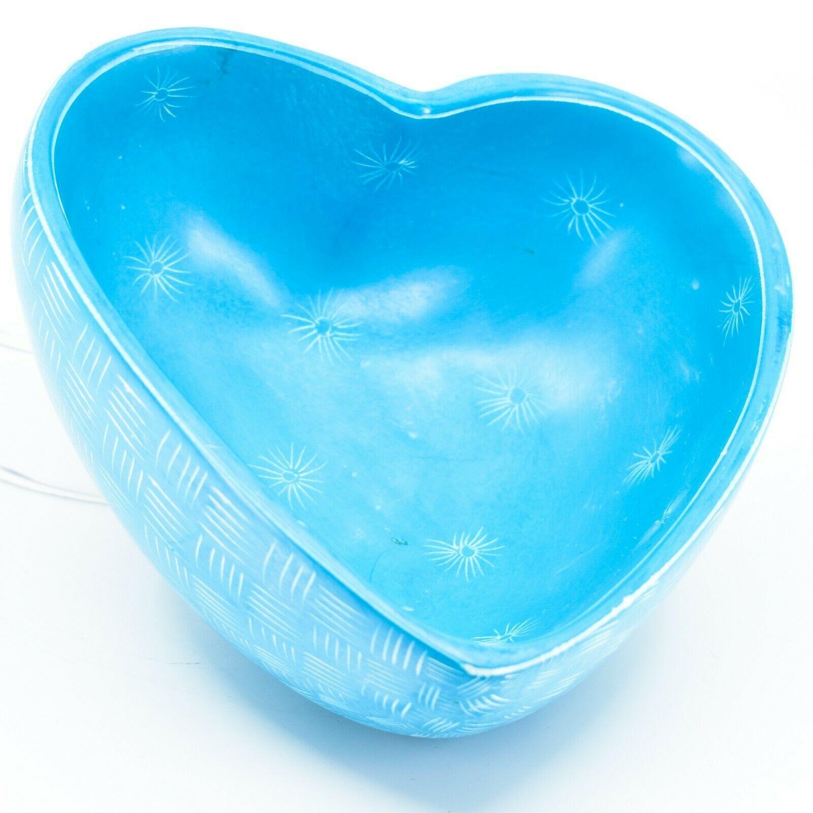 Vaneal Group Hand Carved Kisii Soapstone Blue Heart Decorative Candy Bowl Kenya