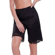 Ilusion Women's Classic Trouser Pants Half Slip with Lace Trim 1037 (Large, Blac