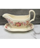 Copeland Spode Red Spode's Aster Gravy Sauce Boat on Attached Base Under... - $74.25