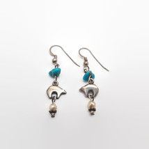 Sterling Silver Bear Fetish & Turquoise Chip Southwestern Style Earrings - $18.81