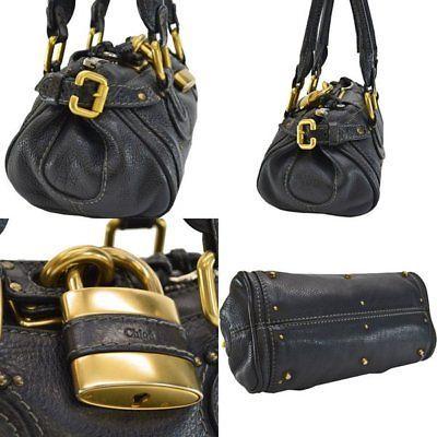 Chloe Handbag Paddington Black x Gold Leather x Metal