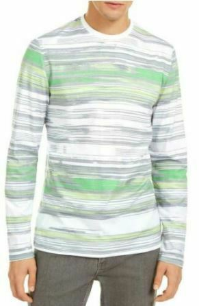 Alfani Men's T-Shirt Green White Size 2XL Striped Crewneck Basic Tee