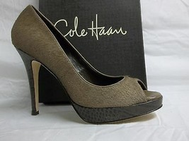 Cole Haan Size 10 M Stephanie Air Grey Leather Hair Calf Pumps New Women... - $117.81