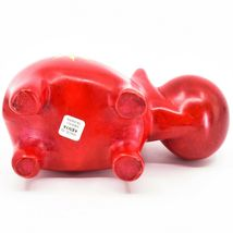 "Hand Carved Kisii Soapstone ""Crimson Sunshine"" Red Hippopotamus Hippo Figure image 5"