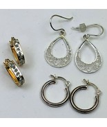 Lot of 3 Pairs Vintage Earrings Sterling Silver Signed SU SLC Dangles Ho... - £19.07 GBP