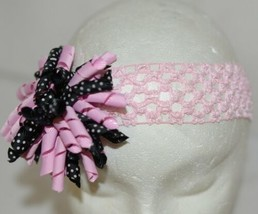 Unbranded Girl Infant Toddler Headband Removable HairBow Curly Pink Black White image 2