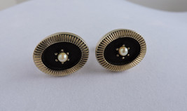 Black and Gold Oval Cuff Links with Pearl Inset | Vintage Suit Accessories  - $34.90