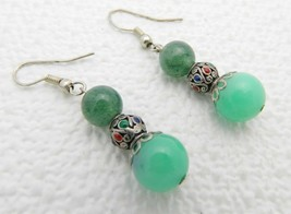 Vintage Silver Tone Enamel Beaded Jade Dangle Earrings - $29.70