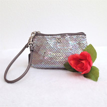 Coach Special Ocassion Sequin Wristlet in Silver - Style 44509 - EUC - $34.64