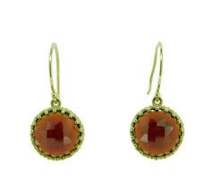 14k Yellow Gold Rose Cut 7 Carat Genuine Natural Garnet Earrings (#J2487) - $395.00