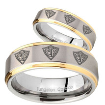 His and Hers Multiple CTR Step Edges Gold 2 Tone Tungsten Engraved Ring Set - $69.98
