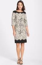 Adrianna Papell Lace Print Crepe Sheath Dress Sz 10 - $58.50