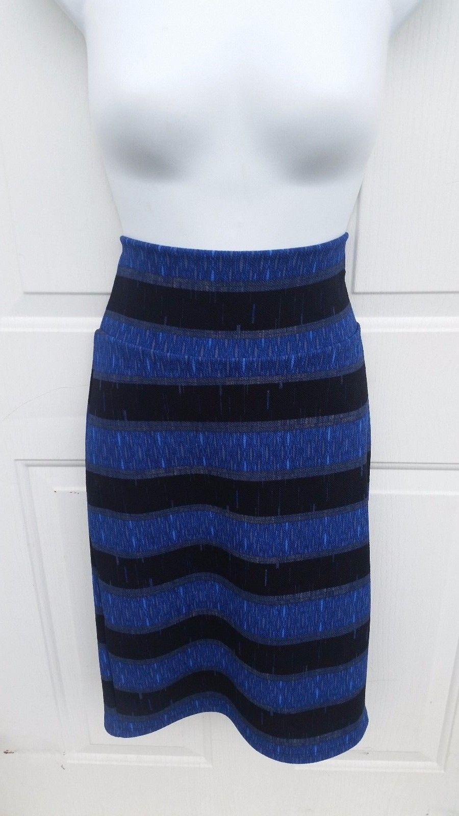 ca8e8c051f2ad Lularoe Small Cassie Pencil Skirt Blue Black and 50 similar items
