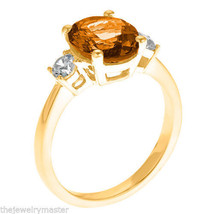 CITRINE & DIAMOND ENGAGEMENT RING 3-STONE OVAL SHAPE YELLOW GOLD 2.73 CARAT - €1.015,29 EUR
