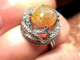 STERLING SILVER OPAL RING 5.5 WHITE GOLD, FANCY WHITE SAPPHIRE PRINCESS - $49.14