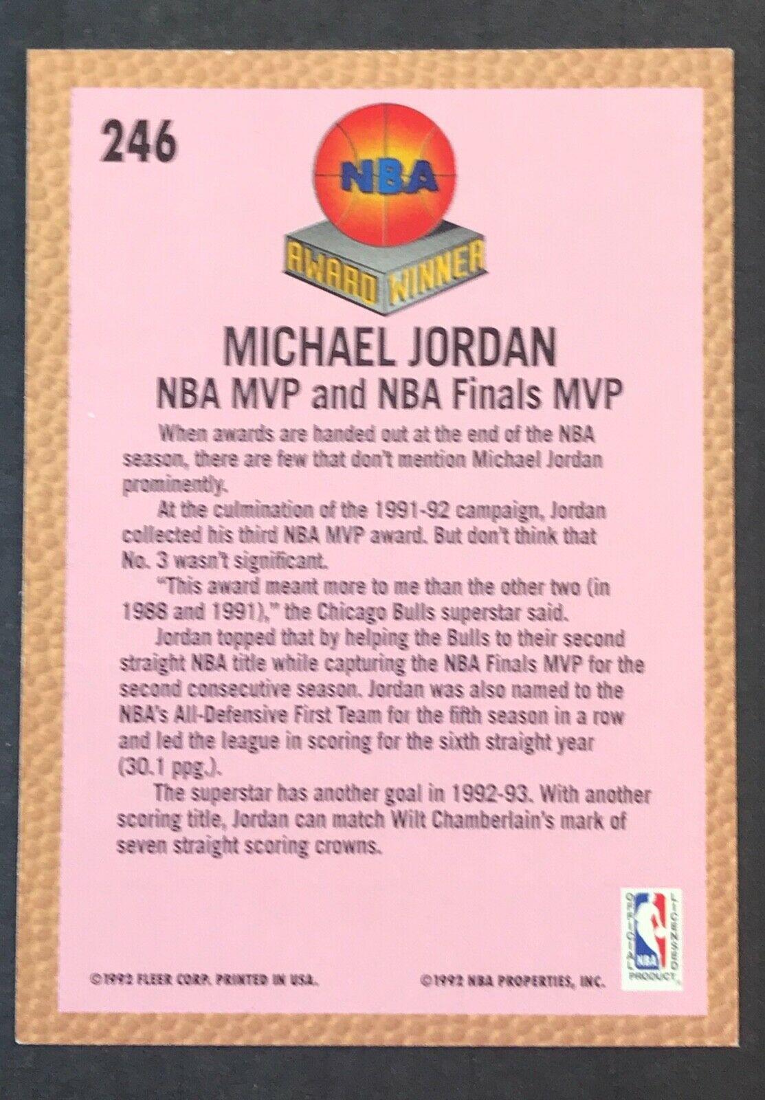 """1992-93 Fleer Michael Jordan """"Award Winner"""" #246 (Chicago Bulls)"""