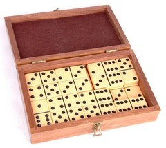 Vtg Butterscotch Bakelite 27 pc Domino Game Set Original Wood Box - $32.73