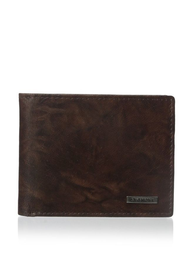 NEW STEVE MADDEN MEN'S PREMIUM LEATHER CREDIT CARD ID WALLET BROWN N80011/01