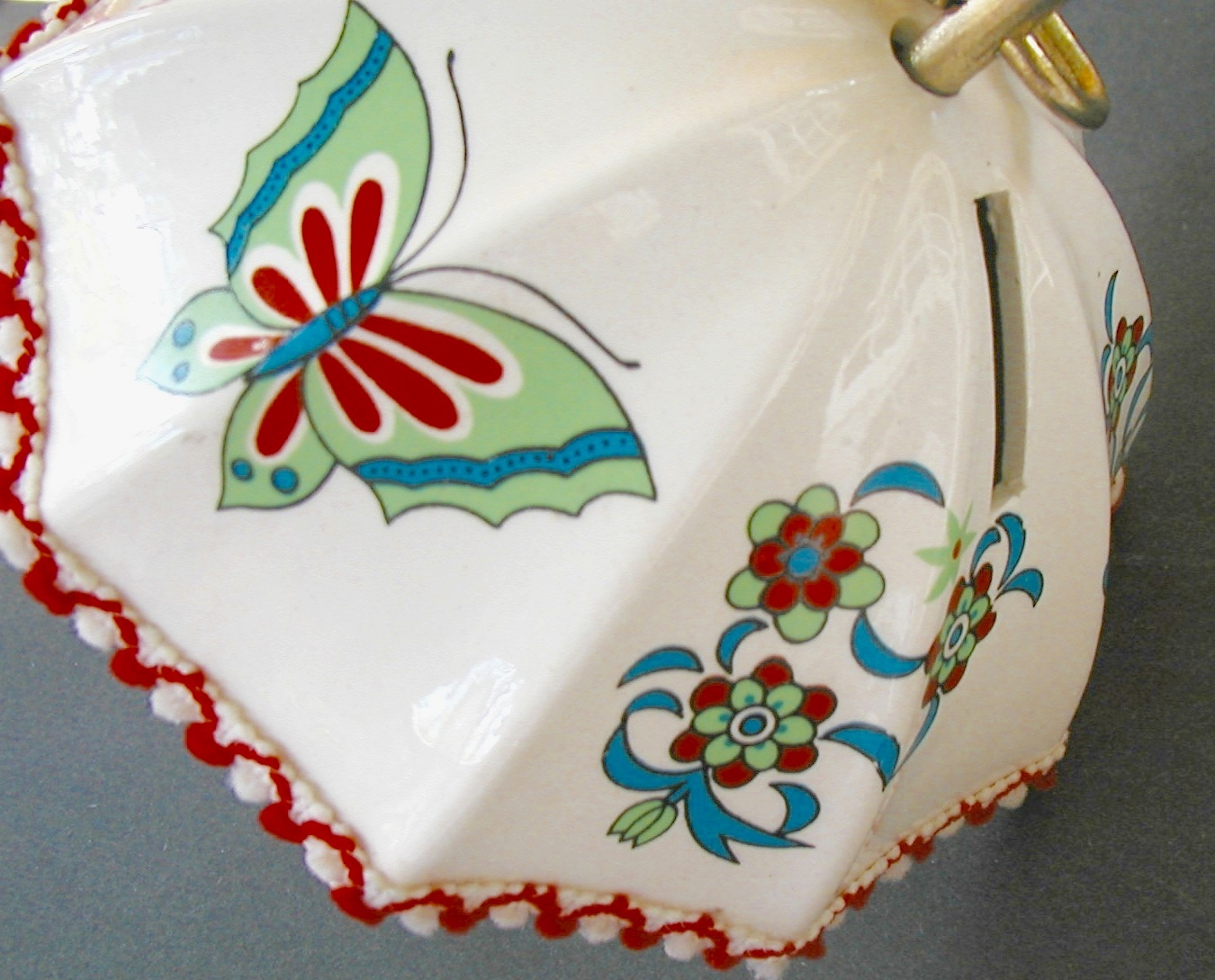 Vintage Bank Umbrella Butterflies and Bows Ceramic