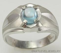 Vintage 1960's 1ct Natural Blue Topaz Cabochon 10k Solid White Gold Men's Ring - $460.35