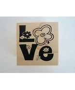Club Scrap LOVE & FLOWERS Numbered Limited Edition Wood Mounted Rubber S... - $8.50