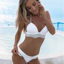 Women Sexy Halter Neck Spliced Vintage Lace Bikini Bathing Suit Set S-M Sizes image 1