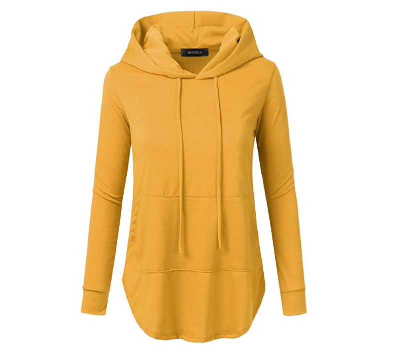 Primary image for Doublju Women's Loose Fit Pullover Hoodie with Kangaroo Pocket Medium Yellow Mus