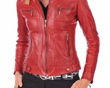 Leather Biker Jacket Women Red Biker Moto Size XS S M L XL XXL Custom Made
