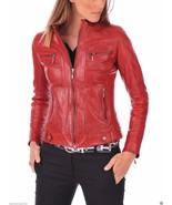 Leather Biker Jacket Women Red Biker Moto Size XS S M L XL XXL Custom Made - $170.65