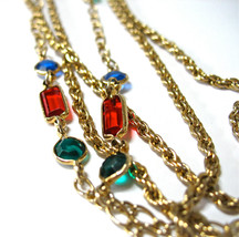 Multi Chain Glass Stone Necklace, Multiple Chains, Red, Green, Blue, Fac... - $19.00
