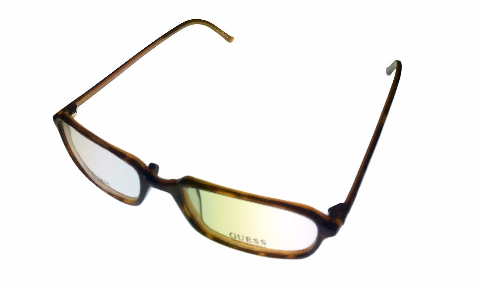Guess Ophthalmic Mens Eyeglass Plastic Rectangle 1331 Demi Amber
