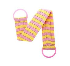 2 pieces Body Cleaning Bath Belts Towels Exfoliating Bath Belts, PINK YELLOW