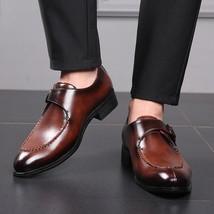 Handmade Men Brown Leather Monk Strap Dress/Formal Shoes image 4